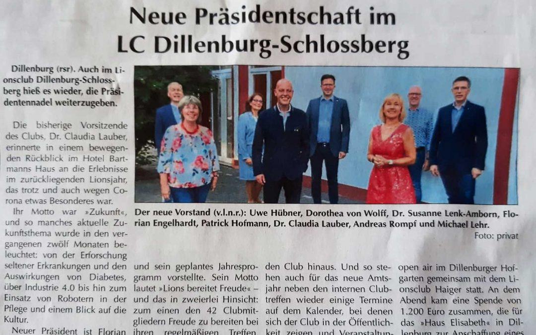Neue Präsidentschaft im LC Dillenburg-Schlossberg