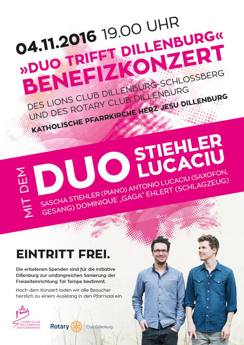 Plakat Benefizkonzert Duo Stiehler / Lucacio